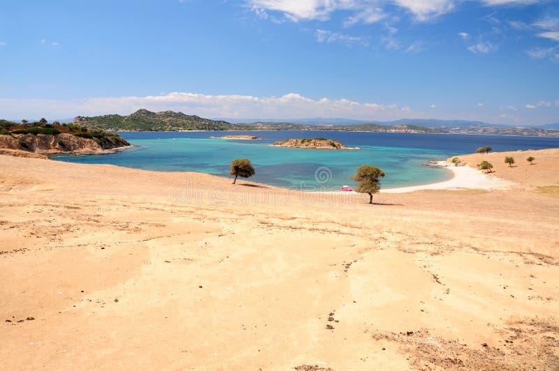 Seascape άποψη από το νησί Pena, Halkidiki, Ελλάδα στοκ φωτογραφία