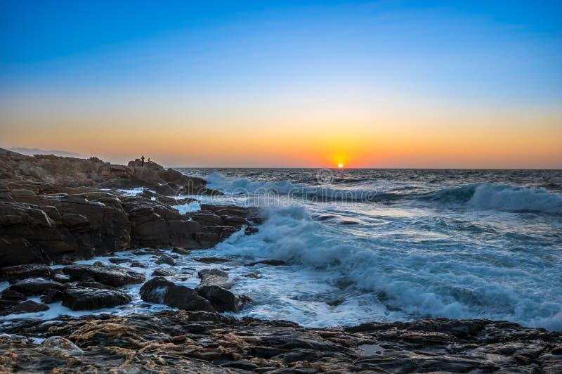 Seascape ανατολή Κρήτη, Ελλάδα στοκ φωτογραφία με δικαίωμα ελεύθερης χρήσης