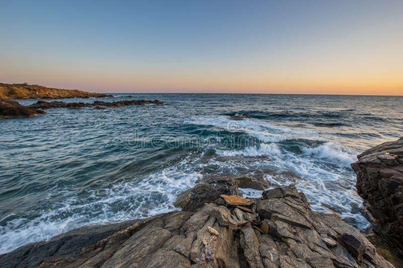 Seascape ανατολή Κρήτη, Ελλάδα στοκ εικόνα