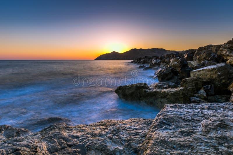 Seascape ανατολή Κρήτη, Ελλάδα στοκ εικόνες
