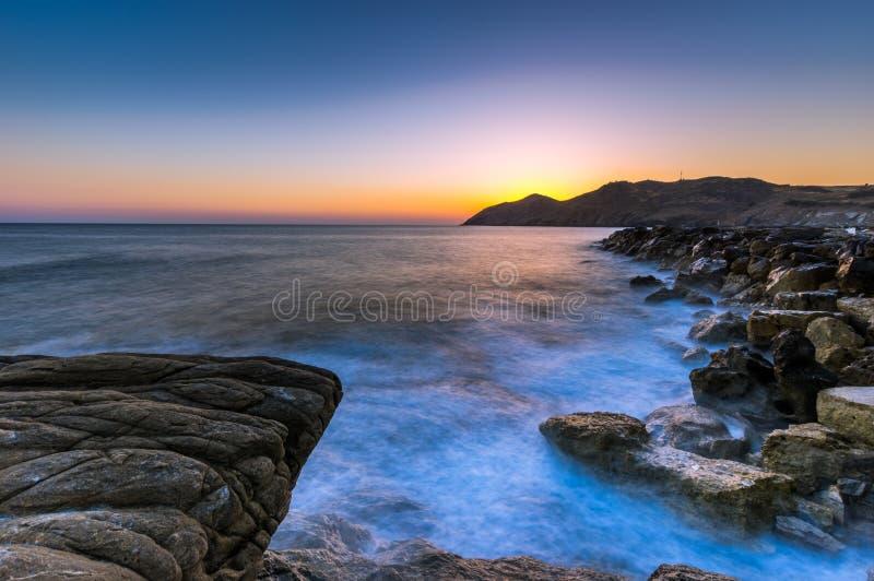 Seascape ανατολή Κρήτη, Ελλάδα στοκ φωτογραφία