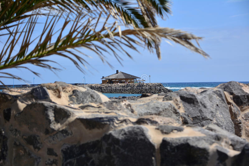 Seascape από Fuerteventura, Caleta de Fuste παραλία Κανάρια νησιά tenerife Ισπανία στοκ φωτογραφία με δικαίωμα ελεύθερης χρήσης