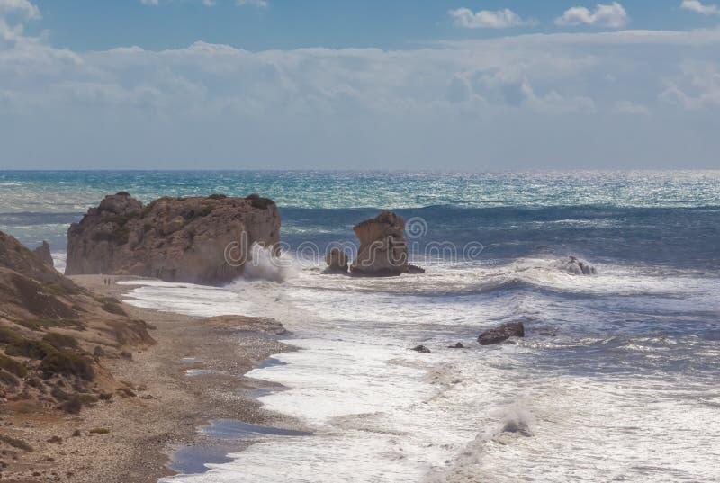 Seascape βράχου Aphrodite ` s στοκ φωτογραφία με δικαίωμα ελεύθερης χρήσης