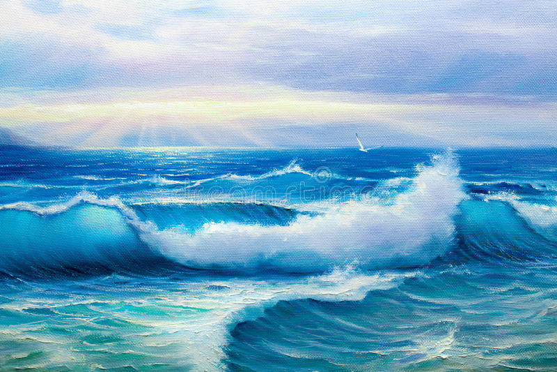 Seascape ζωγραφικής διανυσματική απεικόνιση