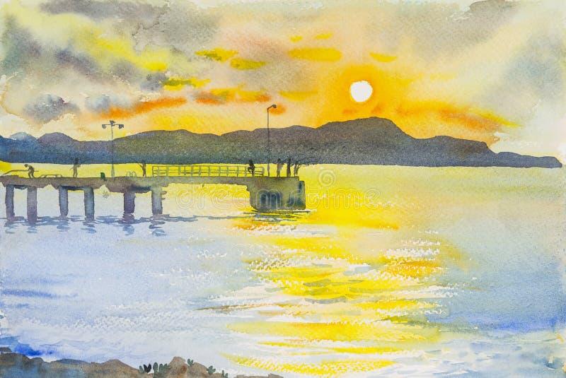 Seascape ηλιοβασίλεμα ζωγραφικής ζωηρόχρωμο του βουνού και της συγκίνησης ελεύθερη απεικόνιση δικαιώματος