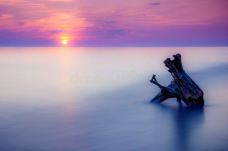 Seascape ηλιοβασιλέματος πορφύρα στοκ εικόνα