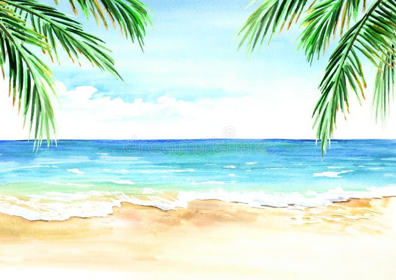 Seascape Θερινή τροπική παραλία με τους χρυσούς κλάδους φοινικών άμμου απεικόνιση αποθεμάτων
