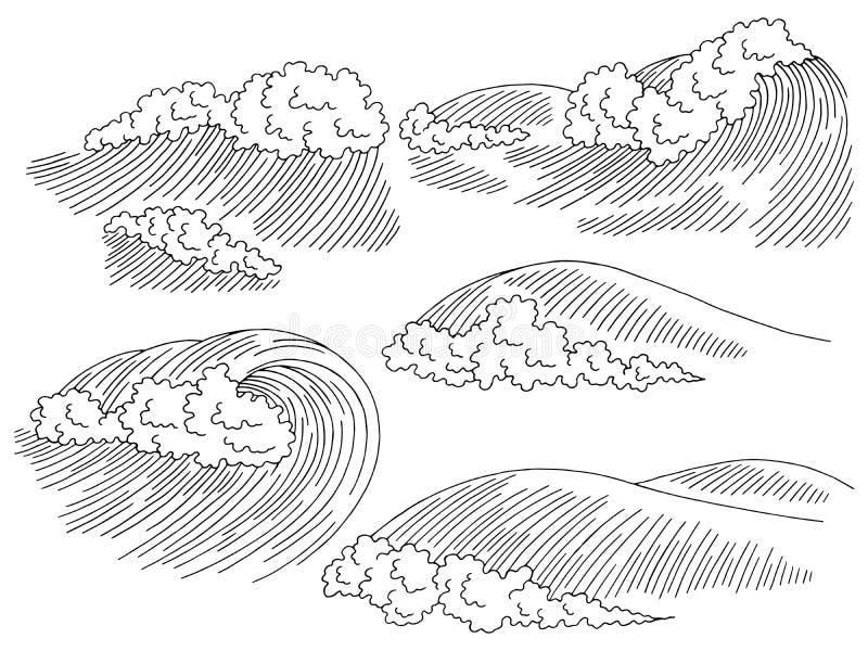 Seascape κυματωγών κυμάτων θάλασσας γραφικό μαύρο άσπρο διάνυσμα απεικόνισης σκίτσων καθορισμένο ελεύθερη απεικόνιση δικαιώματος