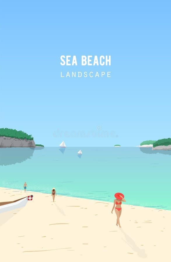 Seascape με τους ανθρώπους που περπατούν στις βάρκες παραλιών και πανιών άμμου που επιπλέουν στην κυανή θάλασσα Τοπίο παραλιών με διανυσματική απεικόνιση