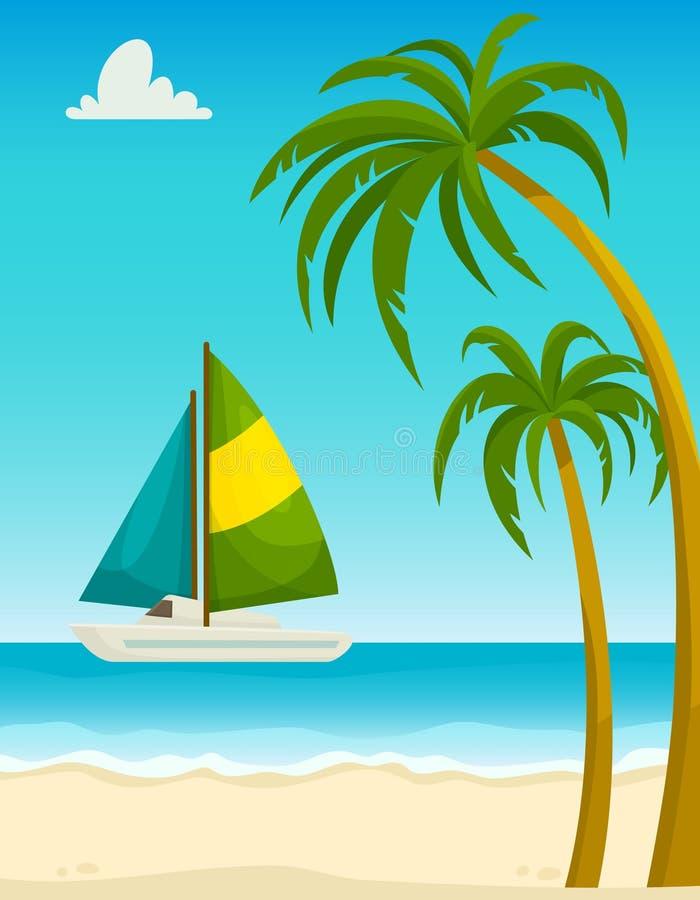 Seascape με τους φοίνικες παραλιών άμμου και το γιοτ, διανυσματική απεικόνιση κινούμενων σχεδίων στοκ φωτογραφία με δικαίωμα ελεύθερης χρήσης