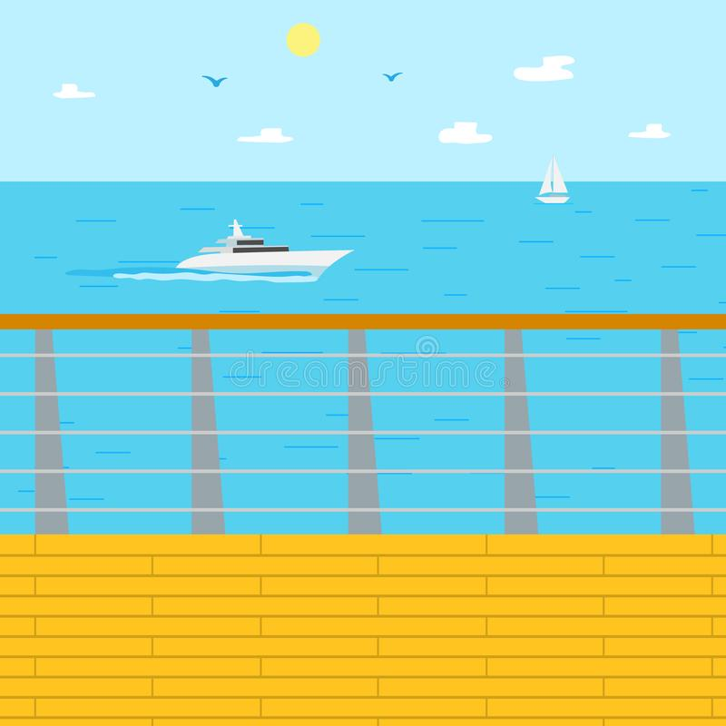 Seascape παράκτια χαλάρωση, θέρετρο το καλοκαίρι ελεύθερη απεικόνιση δικαιώματος