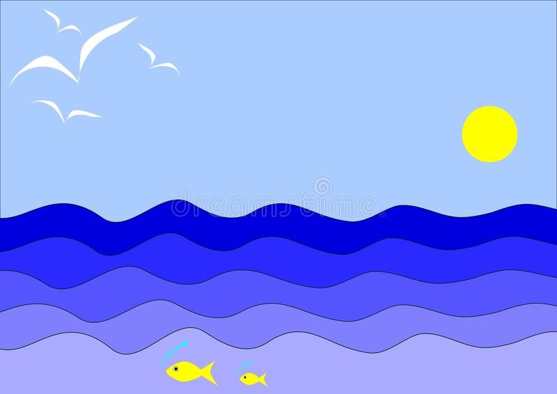 Seascape лета стиля шаржа идилличный стоковое фото