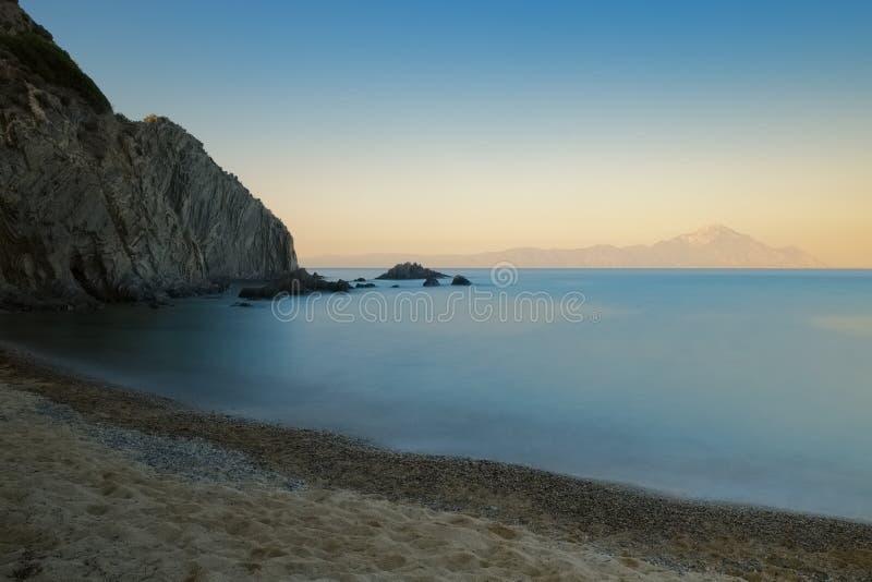 Seascape захода солнца долгой выдержки стоковые изображения
