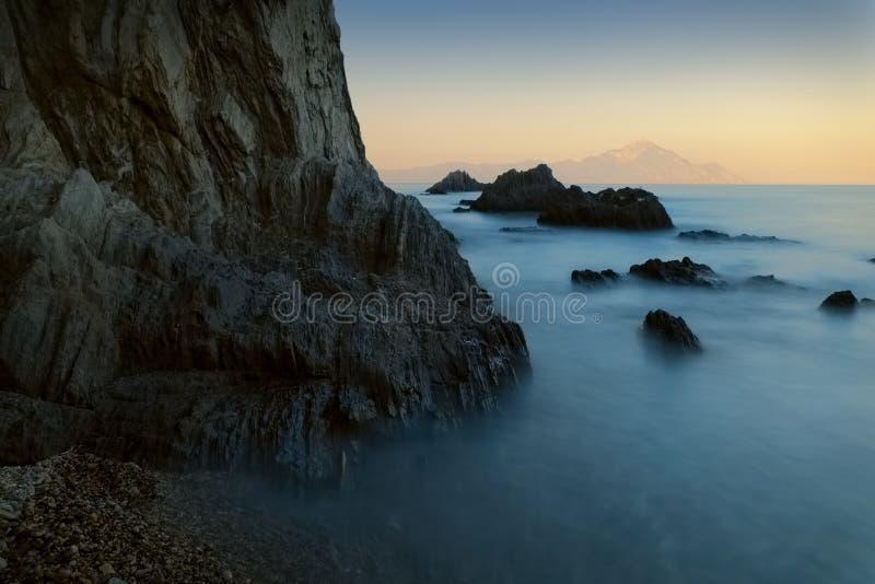Seascape захода солнца долгой выдержки стоковое изображение
