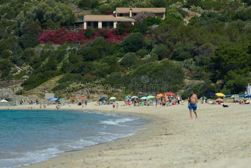Seascape на песчаном пляже вполне людей стоковые изображения