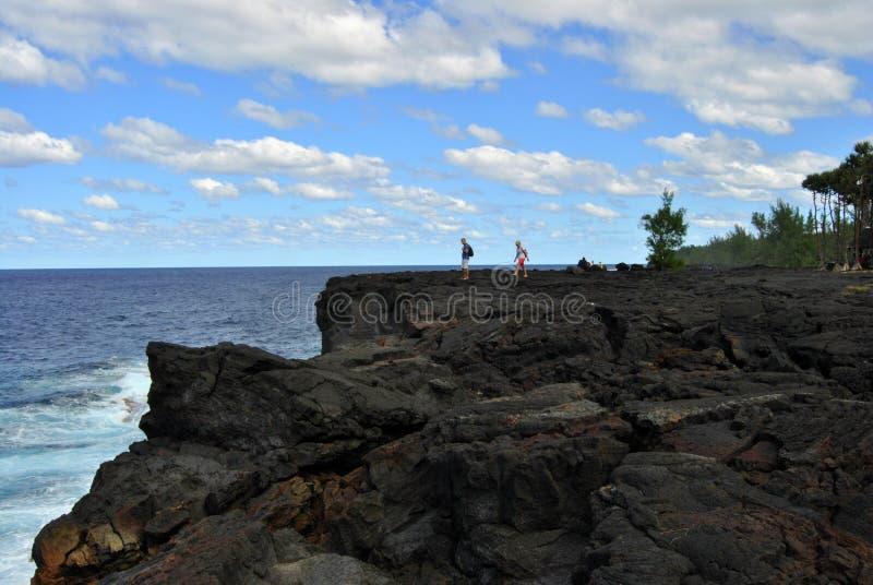 Seascape Острова Реюньон, ландшафт Отработанная формовочная смесь, вулканические породы стоковая фотография