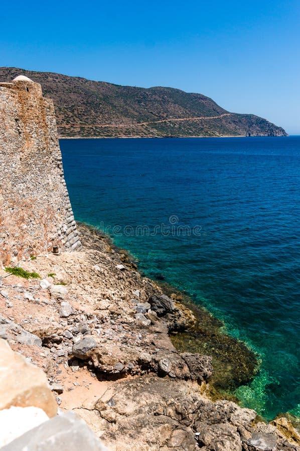 Seascape от крепости Spinalonga, Крита, Греции стоковые изображения rf