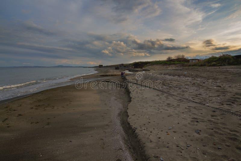 Seascape на заходе солнца Чёрное море, между Burgas и Pomorie, Болгария стоковые фотографии rf