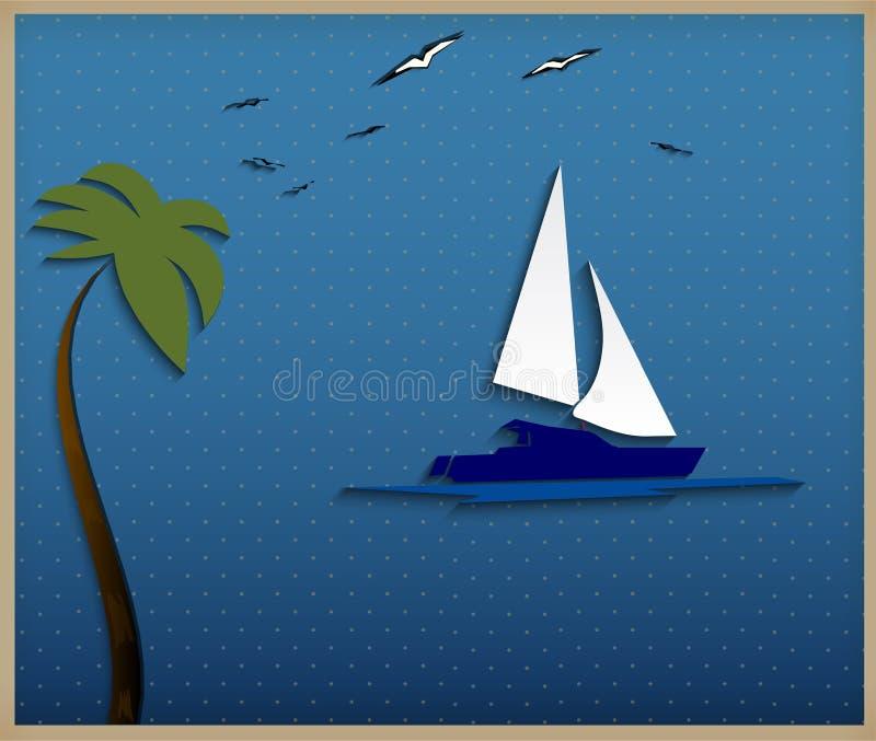 Seascape abstrato do fundo-papel com um veleiro ilustração stock