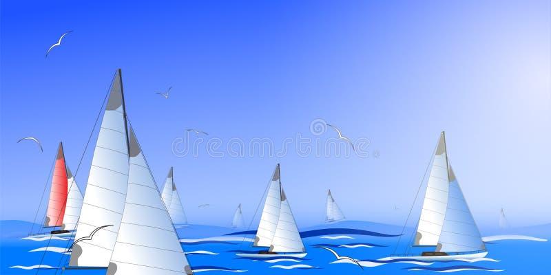 Seascape abstrato que simula a regata Vetor ilustração royalty free