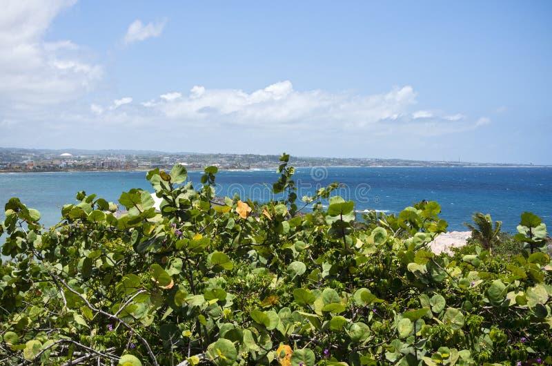 Seascape and Arecibo on Horizon. Atlantic ocean off north coast of puerto rico with arecibo on horizon royalty free stock photo