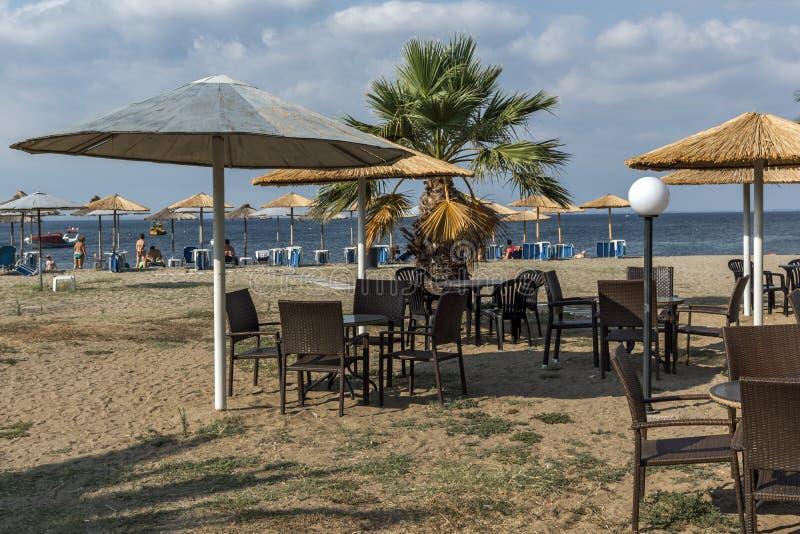 Seascape av den Gerakini stranden på den Sithonia halvön, Chalkidiki, centralMac royaltyfria bilder