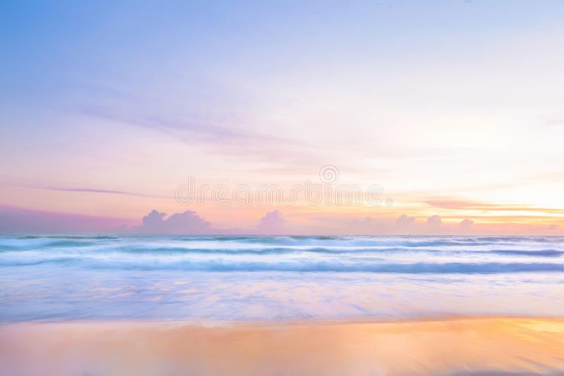 Seascape awesome wave with colofull  sun set at kata beach in phuket thailand. Seascape awesome wave with coloful sun set at kata beach in phuket thailand royalty free stock photos