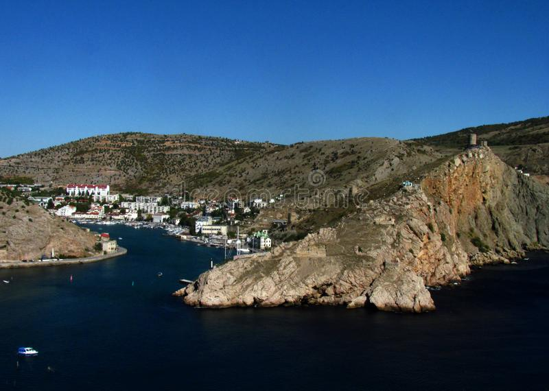 Seascape. Balaklava bay in Crimea royalty free stock photo