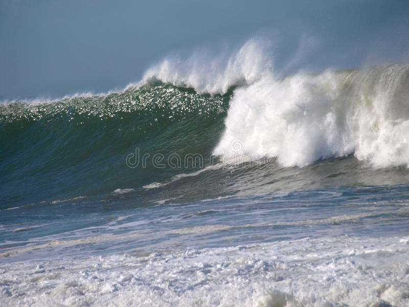 Seascape with big wave in a bright day. stock photography