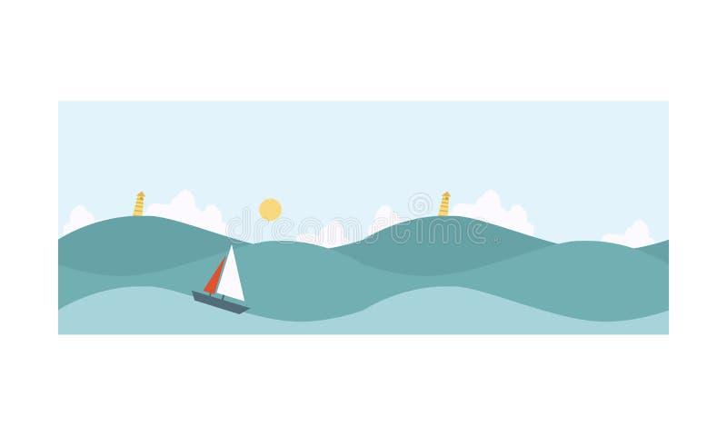 Seascape blå havsbakgrund med vågor, yacht, fyrvektorillustration stock illustrationer