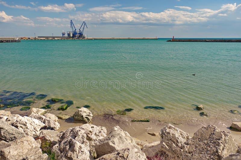 Seascape on the Black Sea - Port terminal Balchik, Bulgaria royalty free stock photos