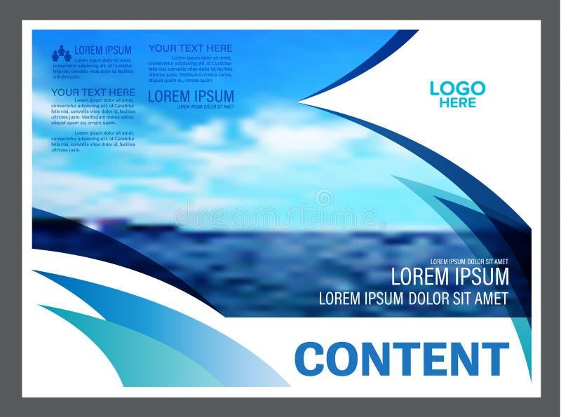 Seascape and blue sky presentation layout design template background for tourism travel business. illustration royalty free illustration