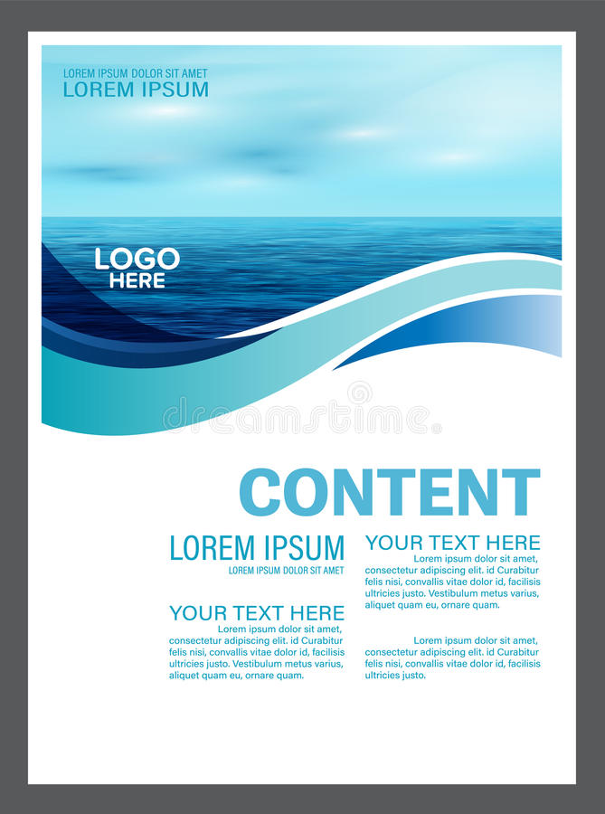 Seascape and blue sky presentation layout design template background for tourism travel business. illustration stock illustration