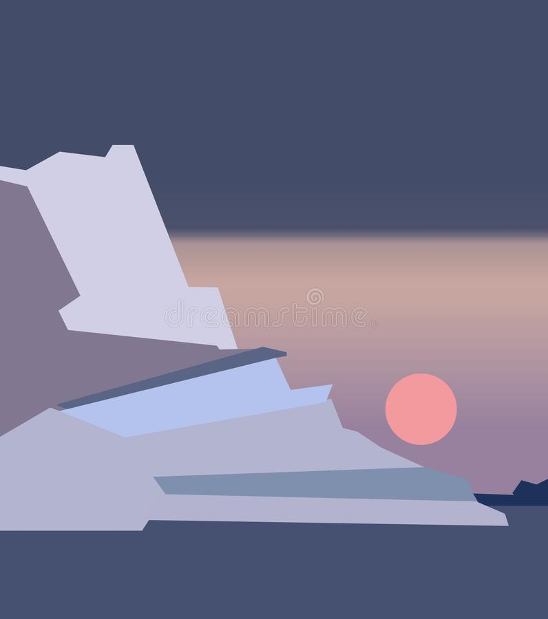 Seascape bonito com escuro - geleiras azuis na superfície da água, vista da costa Por do sol abstrato colorido ilustração stock