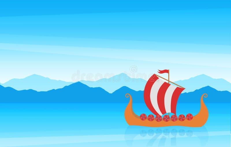 Seascape cênico dos desenhos animados bonitos com costa da montanha e o veleiro medieval escandinavo Drakkar ilustração do vetor