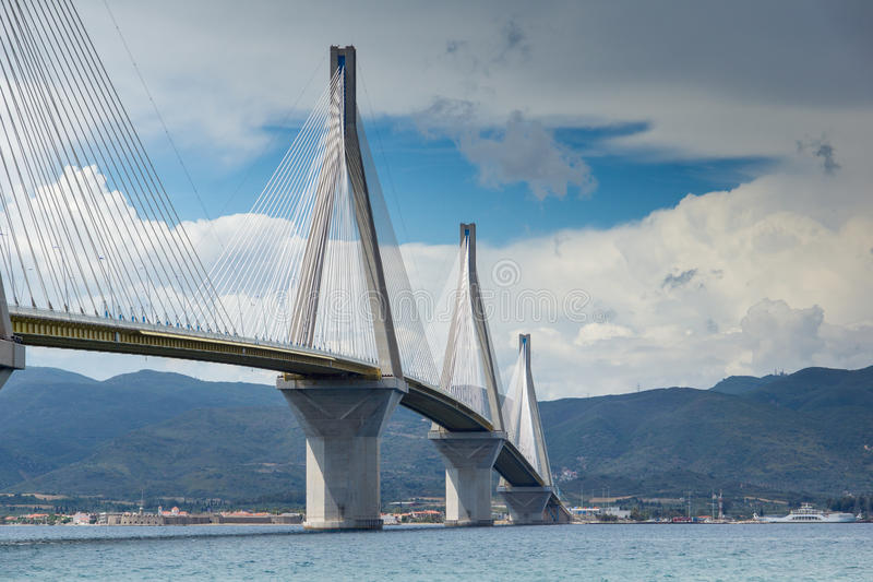 Seascape with The cable bridge between Rio and Antirrio, Patra, Greece. Seascape with The cable bridge between Rio and Antirrio, Patra, Western Greece royalty free stock image
