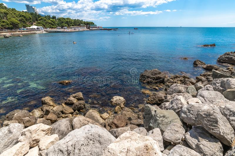 Seascape with a city beach in Foros, Crimea. Seascape with city beach in Foros, Crimea royalty free stock image