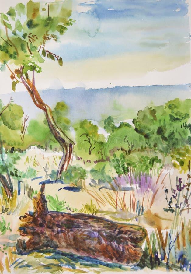 Seascape claro do ar fresco tirado com aquarela imagens de stock
