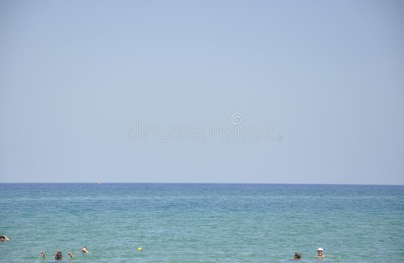Seascape with clear sea water from Malia beach stock image