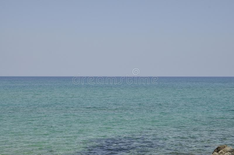 Seascape with clear sea water from Malia beach stock images