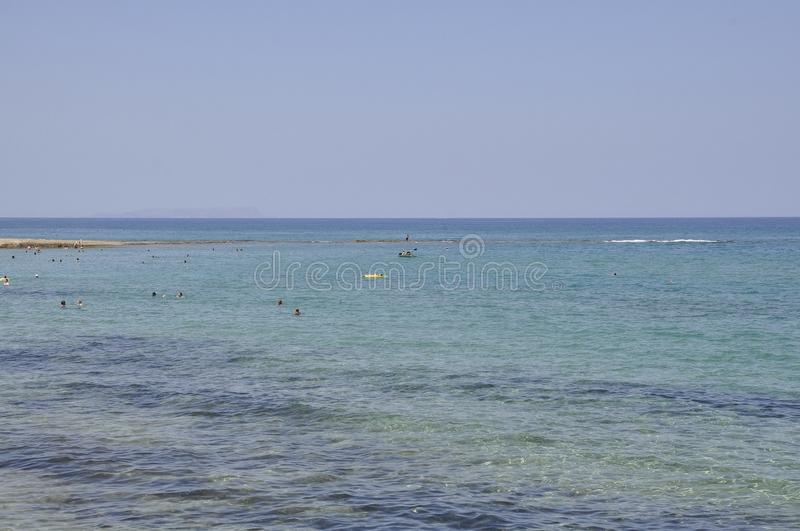 Seascape with clear sea water from Malia beach royalty free stock image