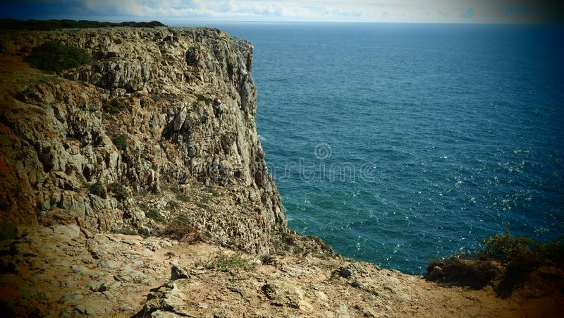 Seascape with Cliffs near Sagres, Portugal stock photo