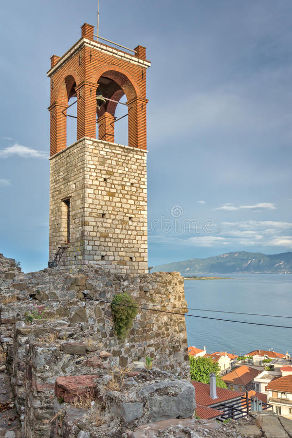 Seascape with Clock tower in Nafpaktos town, Greece. Seascape with Clock tower in Nafpaktos town, Western Greece royalty free stock image