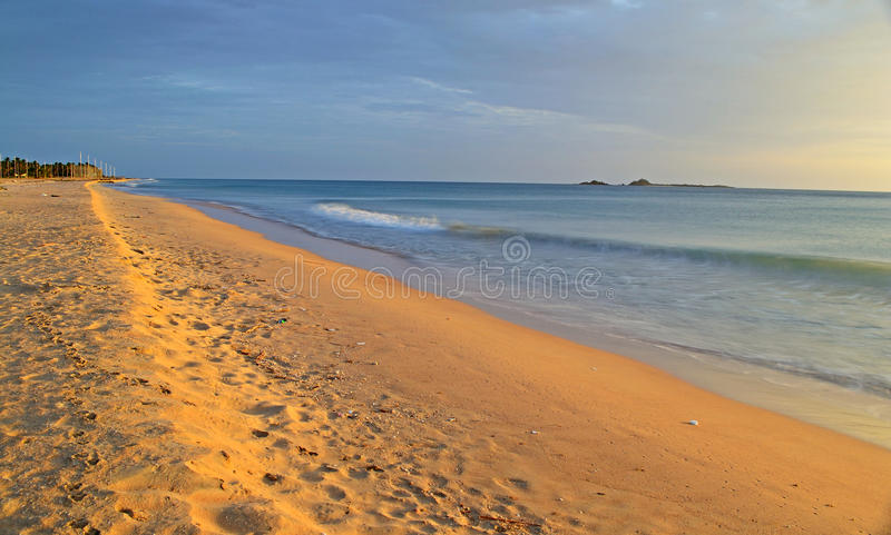 Seascape and cloudscape at dawn royalty free stock image