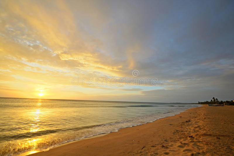 Seascape and cloudscape at dawn royalty free stock images