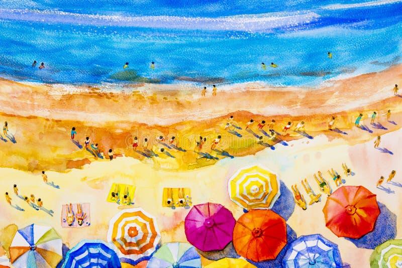 Seascape colorido dos amantes, férias em família da aquarela da pintura ilustração royalty free