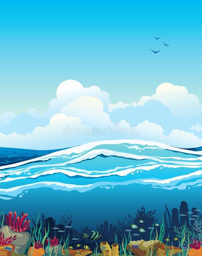Seascape com criaturas subaquáticas e o céu nebuloso ilustração do vetor
