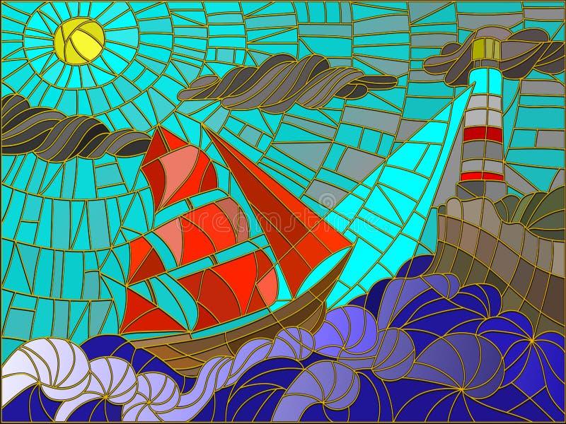 Seascape com estilo do vitral do veleiro e do farol ilustração do vetor