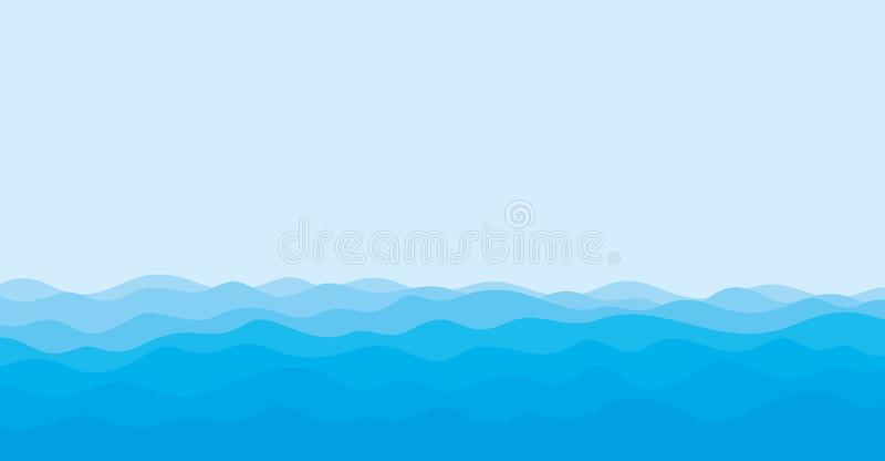 Seascape com onda azul ilustração stock