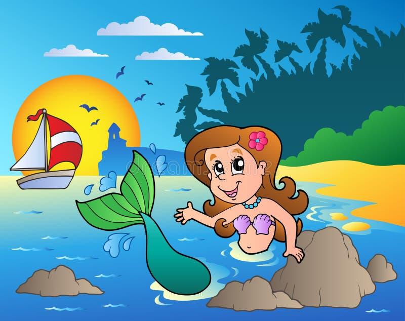 Seascape com sereia da natação ilustração royalty free